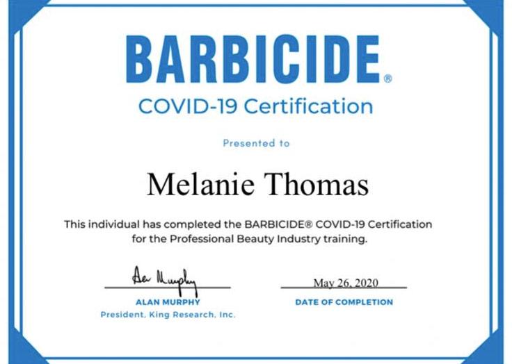 Covid-19 Barbicide Certificate